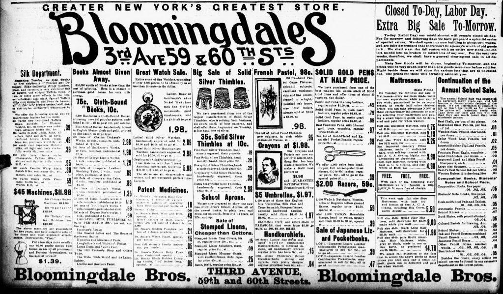 Bloomingdales Ad - September 3, 1984